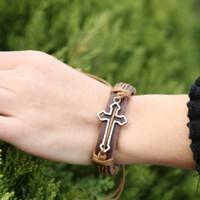 Wholesale Pc Alloy Long Hollow Cross Mens ID Bracelets Thick Leather Belt Wristband Wrap Bracelets Vintage Jewelry Male Bangle