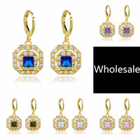 Wholesale High Quality Gold Plated Mixed Designs Colors Wedding Party Cubic Zirconia Jewelry Drop Dangle Women Girls Earrings