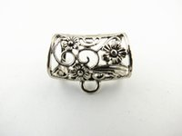 Wholesale Popular DIY Jewellery Scarf Pendant Findings Silver Mental Alloy Charm Flower Slide Holding Tube Bails