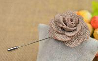 Wholesale Silk Blend Lapel Flowers Handmade Boutonniere Stick Pin Men s Accessories