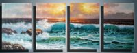 contemporary oil paintings - Hand Painted Canvas Painting Household Adornment Wall Contemporary Art Blue Sea Golden Sunshine P