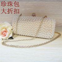 bags imitation - Silver Bridal Hand Bag Wedding Handbag Clutch Beading Party Bags Bridal Accessories Evening Bags Imitation Pearls Handbag Dinner Clutch