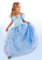 ankle length robe - 2015 New Cinderella Limited Edition Costume for Girls Kids Fancy Party Cosplay Dresses Children Robe Vestidos A1