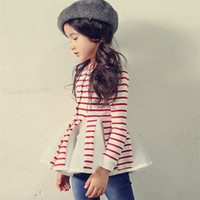 girls long sleeve shirts - 2016 New Kids Girls Stripes Tutu Tees Lace Patchwork Ruffles Blouse Long Sleeve Candy Color Spring Fall Blouse
