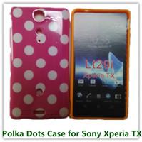 al por mayor xperia tx casos-Caso de la piel cubierta 1PCS populares caramelo TPU de los lunares Volver para Sony Xperia LT29i TX Bolsas del teléfono celular