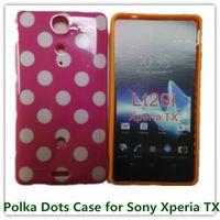 achat en gros de xperia tx cas-Housse en peau 1PCS populaire bonbons mous TPU pois Retour pour Sony Xperia LT29i TX Portable Sacs