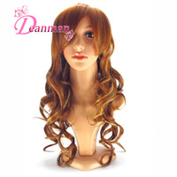 Wholesale Cheap Synthetic Wig for Women Mix Color Kanekalon Synthetic Hair High Temperature Resistance No Tangle Long Curly Hair Wigs