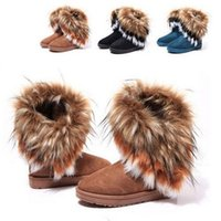 Wholesale Winter Warm High Long Snow Boots Artificial Fox Rabbit Fur Leather Tassel Women s Shoes Women s Snow Boots Size
