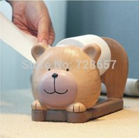 bear paper craft - Cartoon Bear Baby Roll Paper Dispenser Rack Resin Tabletop Napkin Box Daily Use Houseware Supplies Utility Craft Accessories