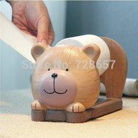 bear dispenser - Cartoon Bear Baby Roll Paper Dispenser Rack Resin Tabletop Napkin Box Daily Use Houseware Supplies Utility Craft Accessories