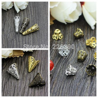 Wholesale 200pcs Bali Style Hollow Flower Filigree Cone Bead Caps End Caps Gold Silver Bronze Rhodium Plated Fit Jewelry Findings Y855