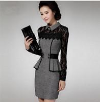 Wholesale Plus size m to XXXL women s dress elegant long sleeve slim waist lace slim hip OL lady patchwork dress new arrive