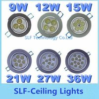 Wholesale 20pcs Super Bright W W W W W W CREE Led Ceiling Lights Resessed Lamp AC V Dimmable Led Down Lights Drivers