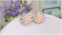 allergy drop - Japan and South Korea vogue sweet with flowers diamond stud earrings allergy free earrings female Birthday gift South Korea