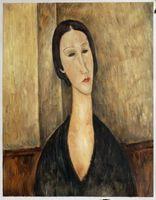 amedeo modigliani paintings - Portrait of Hanka Zborowska by Amedeo Modigliani Paintings for Living Room Wall H