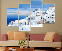 Cheap 4 Piece Free Shipping Hot Sell Modern Wall Painting Art Picture Paint on Canvas Prints The classic beauty of the Greek island of Santorini