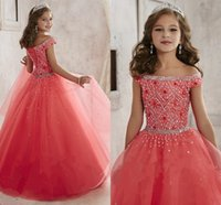 Wholesale Little Girls Pageant Dresses wear New Off Shoulder Crystal Beads Coral Tulle Formal Party Dress for teen Kids Flowers Girls Gowns