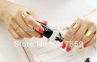 Cheap 9PCS 1set Alloy Golden Tone Punk Wide Band Ring Stack Plain Knuckle Midi Mid Rings Set Drop Shipping Wholesale