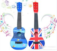 Wholesale 2015 Children Gifts Music Wooden Toys Guitar Kids Boys Girls Musical Instruments Learning Education Toy Child Wood Dot Striped Guitars D3689