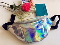 Wholesale women metallic silver Fanny Waist bag chest pack sparkle festival hologram bag