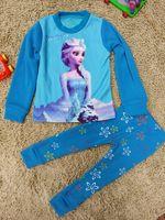 Wholesale Frozen girls clothing set Underwear pc set Winter Girls Velvet Thick Children Clothing Children Pajamas Cheap HX z