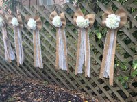 church chairs - Burlap Church Pew Decorations Aisle Wedding Decorations with Pearl and Lace Bow Lovely Style Wedding Supplies Handmade DIY Chair Sashes
