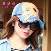 Wholesale Korean the influx money sun hat sequined diamond skull cowboy sun hat baseball cap a002
