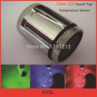 bath kitchen faucets - Glow LED faucet tap Temperature Sensor Kitchen Bath Water Tap LED Faucet colors change