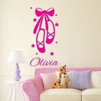ballet shoes cartoon - Customer made Kids Wall Sticker Personalized Name Ballet Shoes Decals for Girls Room