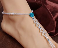 Wholesale Cheap White Barefoot Anklets for Women Hand Made Beads Pearls with Flowers Vintage Beach Wedding Accessories