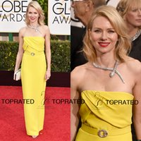Wholesale 2015 nd Golden Globe Naomi Watts Evening Formal Celebrity Dresses Gowns With Strapless Yellow Sash Chiffon Ankle Length Red Carpet