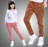 Cheap Boys And Girls Pants High Quality Pure Cotton Corduroy Casual Pants For Big Children Button Pockets Big Kids Trousers Five Color K227