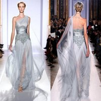 Wholesale Hot Sexy Zuhair Murad Silver Celebrity Evening Dresses Custom Long One Shoulder A Line Applique Sequin High Quality Prom Party Gowns