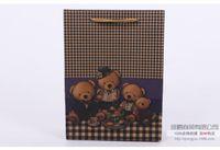 Wholesale 2016 Cartoon bear gift bag six size Portable kraft paper gift bags fashion Favors Wrapping Bag Environmental protection bag Festive Gift