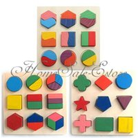 Wholesale Kids Baby Wooden Geometry Block Puzzle Montessori Early Learning Educational Toy