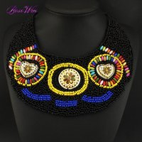 african woman painting - Boho Style National Hand Made Colorful Fashion Women Choker Pendant Jewelry Suitable Resin Ceramics Painting Beads Collar CE3415