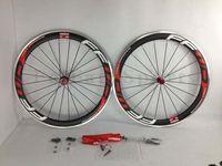 Wholesale FFWD carbon wheels mm C aluminum alloy surface clincher carbon wheels road bike wheels red decals ffwd wheelset
