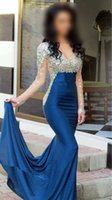 Wholesale Navy Blue Satin Prom Dresses crystal Vestidos Sheer Scoop Transparent Long Sleeve Beaded Rhinestones Evening Dresses Party gown