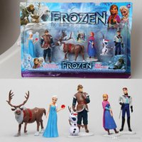 Wholesale retail Frozen Princess Elsa Anna Kristoff Olaf Hans Sven Figures Set Cake Topper Doll Toy Decoration Birthday Gifts For Girls