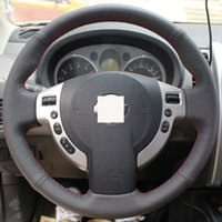 Wholesale XuJi Steering Wheel Cover for Nissan QASHQAI X Trail NV200 Rogue Car Special Hand stitched Black Genuine Leather Covers