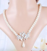 Cheap Royal Lady Bridal Wedding Party Tassel Cream Imitate Pearl Flower Necklace Earring Piercing Set
