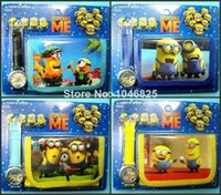childrens toys and gifts - Despicable Me D Minions Purse Wallet and Wrist watches sets kids childrens Cartoon Wristwatch Kids Birthday Christmas Gift toys free shippi
