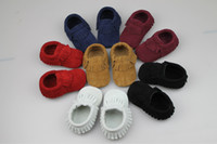 Wholesale New Leather Tassels Baby Moccasins Soft Baby Shoes Kids Genuine Cow Leather Newborn Baby Prewalker pairs l