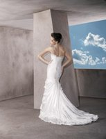 Cheap Sheath/Column Spaghetti Wedding Dress Best Reference Images One-Shoulder Lace Brides Gowns
