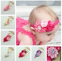 Wholesale Hot baby headband hair bows girls toddler colorful ribbon hairbands flower headbands with pearl baby cwon photography butterflies bows