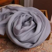 Wholesale Metal Gray High grade China Plain Silk Scarves Woman Pure Color Soft Mulberry Silk Scarves Joker Shawl Spring Summer Winter Hangzhou Silk