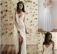 Cheap Sexy 2015 Spaghetti Straps Backless Boho Bohemian Beach Wedding Dresses Floor Length A-line Boho Chiffon Summer Bridal Ball Gowns Dresses