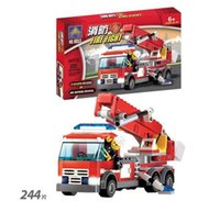Cheap Hot Sale 244pcs set eductional plastic Building Blocks 8053 Sets Fire Fight Aerial Ladder Truck Car Halloween toys With original box