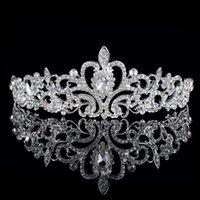 Cheap hot sale Shining Beaded Crystals Wedding Crowns Bridal Crystal Veil Tiara Crown Headband Hair Accessories Party Wedding Tiara