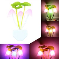 ac pots - 220V AC ABS LED Night Light Mushroom Potting Lamp Light Sensor Control Colorful Light for Home Party Decoration L0559